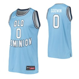 Women's Old Dominion Monarchs #0 Marquis Godwin Blue Authentic College Basketball Jersey