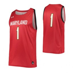 Women's Maryland Terrapins #1 Authentic College Basketball Jersey Red