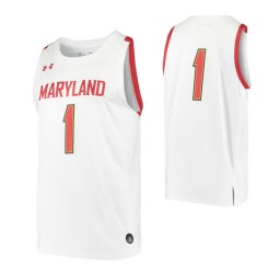Maryland Terrapins #1 Authentic College Basketball Jersey White