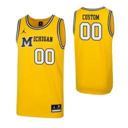 Michigan Wolverines Custom 1989 Throwback College Basketball Replica Jersey Maize