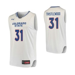 Youth Colorado State Rams #31 Adam Thistlewood Authentic College Basketball Jersey White