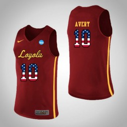 Women's Loyola (Chi) Ramblers #10 Adarius Avery USA Flag Authentic College Basketball Jersey Red