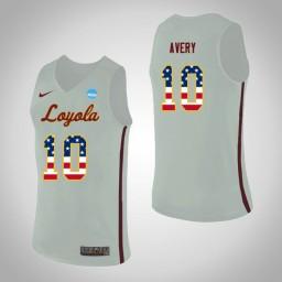 Women's Loyola (Chi) Ramblers #10 Adarius Avery USA Flag Authentic College Basketball Jersey White