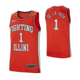 Illinois Fighting Illini #1 Adonis De La Rosa Retro Performance Authentic College Basketball Jersey Orange