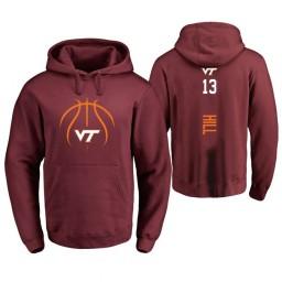 Men's Virginia Tech Hokies #13 Ahmed Hill College Basketball Personalized Backer Hoodie Maroon