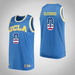 Women's UCLA Bruins #0 Alex Olesinski USA Flag Authentic College Basketball Jersey Blue