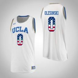 Women's UCLA Bruins #0 Alex Olesinski USA Flag Authentic College Basketball Jersey White