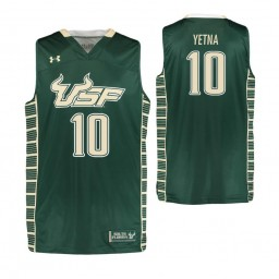 South Florida Bulls #10 Alexis Yetna Authentic College Basketball Jersey Green