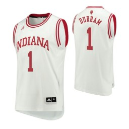 Indiana Hoosiers #1 Aljami Durham Home Authentic College Basketball Jersey White