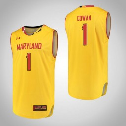 Women's Maryland Terrapins #1 Anthony Cowan Authentic College Basketball Jersey Yellow