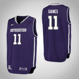 Northwestern Wildcats #11 Anthony Gaines Performance Authentic College Basketball Jersey Purple