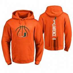 Men's Miami Hurricanes #3 Anthony Lawrence II College Basketball Personalized Backer Hoodie Orange