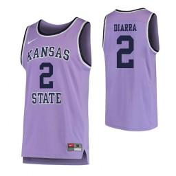 Kansas State Wildcats #2 Cartier Diarra Authentic College Basketball Jersey Purple