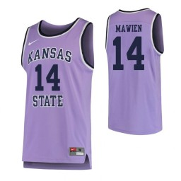 Kansas State Wildcats #14 Makol Mawien Authentic College Basketball Jersey Purple