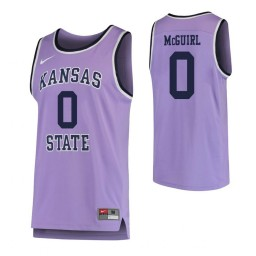 Kansas State Wildcats #0 Mike McGuirl Authentic College Basketball Jersey Purple