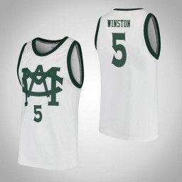 Michigan State Spartans #5 Cassius Winston Vault MAC Authentic College Basketball Jersey White