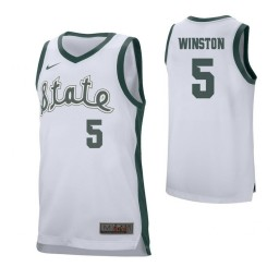Michigan State Spartans #5 Cassius Winston Authentic College Basketball Jersey White