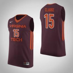 Women's Virginia Tech Hokies #15 Chris Clarke Authentic College Basketball Jersey Maroon