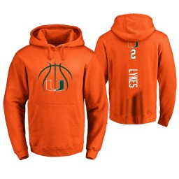 Men's Miami Hurricanes #2 Chris Lykes College Basketball Personalized Backer Hoodie Orange