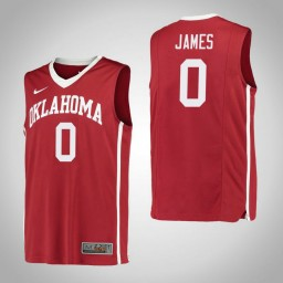 Youth Oklahoma Sooners #0 Christian James Authentic College Basketball Jersey Red