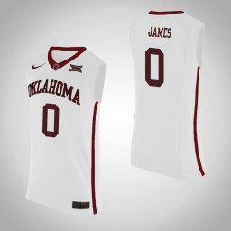 Youth Oklahoma Sooners #0 Christian James Authentic College Basketball Jersey White