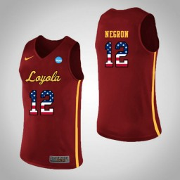 Women's Loyola (Chi) Ramblers #12 Christian Negron USA Flag Authentic College Basketball Jersey Red