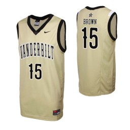 Youth Vanderbilt Commodores #15 Clevon Brown Gold Authentic College Basketball Jersey