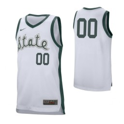 Michigan State Spartans Custom College Basketball Retro Performance Jersey White