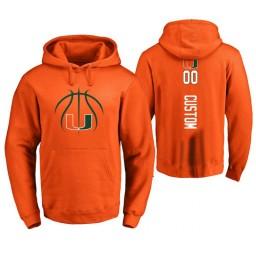 Men's Miami Hurricanes #00 Custom College Basketball Personalized Backer Hoodie Orange