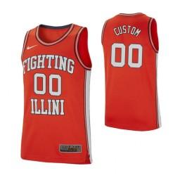 Men's Illinois Fighting Illini #00 Custom College Basketball Retro Performance Jersey Orange