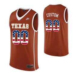 Men's Texas Longhorns #00 Custom College Basketball USA Flag Jersey Orange