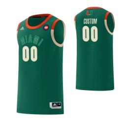 Men's Miami Hurricanes #00 Custom College Basketball Harlem Renaissance Jersey Green