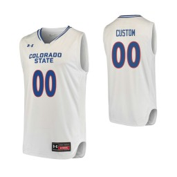 Men's Colorado State Rams #00 Custom College Basketball Replica Jersey White