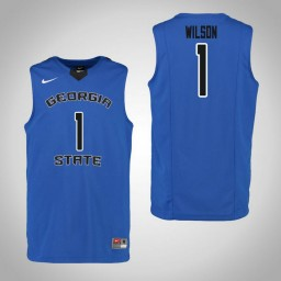 Youth Georgia State Panthers #1 Damon Wilson Authentic College Basketball Jersey Blue