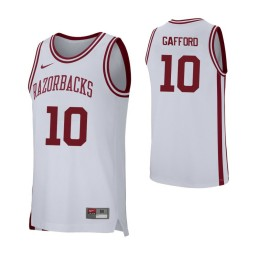Arkansas Razorbacks #10 Daniel Gafford Authentic College Basketball Jersey White