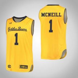 California Golden Bears #1 Darius McNeill Authentic College Basketball Jersey Gold