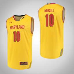 Women's Maryland Terrapins #10 Darryl Morsell Authentic College Basketball Jersey Yellow