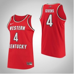 Western Kentucky #4 Dee Givens Performance Authentic College Basketball Jersey Red