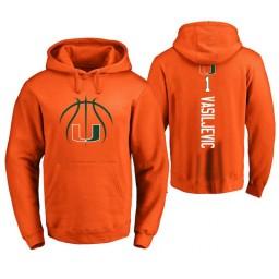 Men's Miami Hurricanes #1 Dejan Vasiljevic College Basketball Personalized Backer Hoodie Orange