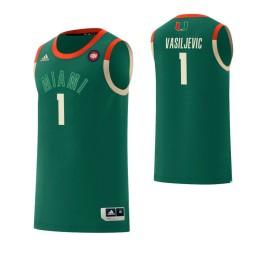Youth Miami Hurricanes #1 Dejan Vasiljevic Harlem Renaissance Authentic College Basketball Jersey Green