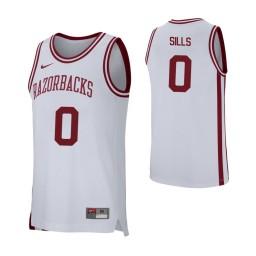 Arkansas Razorbacks #0 Desi Sills Authentic College Basketball Jersey White