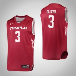 Temple Owls #3 Desiree Oliver Authentic College Basketball Jersey Red