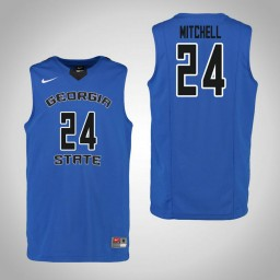 Youth Georgia State Panthers #24 Devin Mitchell Authentic College Basketball Jersey Blue