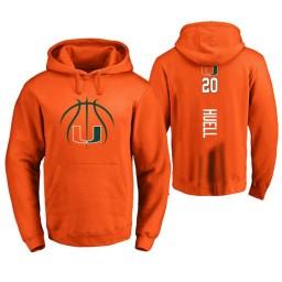 Men's Miami Hurricanes #20 Dewan Huell College Basketball Personalized Backer Hoodie Orange