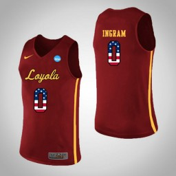 Women's Loyola (Chi) Ramblers #0 Donte Ingram USA Flag Authentic College Basketball Jersey Red