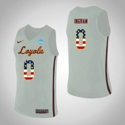Women's Loyola (Chi) Ramblers #0 Donte Ingram USA Flag Authentic College Basketball Jersey White