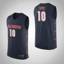 Illinois Fighting Illini #10 Drew Cayce Authentic College Basketball Jersey Navy