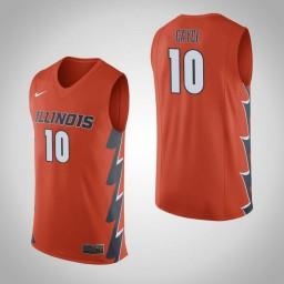Illinois Fighting Illini #10 Drew Cayce Authentic College Basketball Jersey Orange