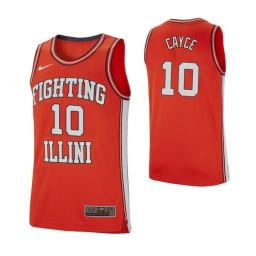 Illinois Fighting Illini #10 Drew Cayce Retro Performance Authentic College Basketball Jersey Orange