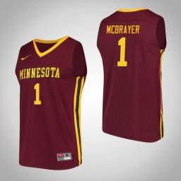 Minnesota Golden Gophers #1 Dupree McBrayer Performance Authentic College Basketball Jersey Maroon